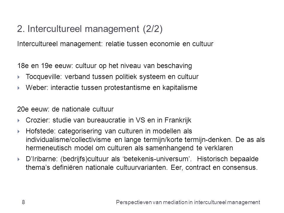 2. Intercultureel management (2/2) Intercultureel management: relatie tussen economie en cultuur 18e en 19e eeuw: cultuur op het niveau van beschaving