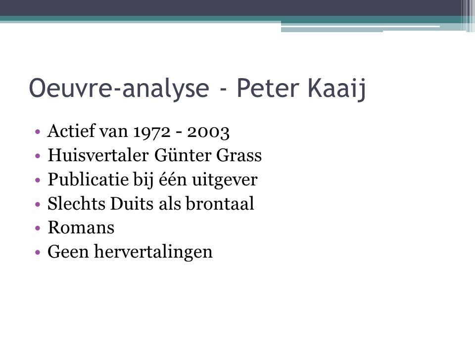 Oeuvre-analyse - Peter Kaaij Actief van 1972 - 2003 Huisvertaler Günter Grass Publicatie bij één uitgever Slechts Duits als brontaal Romans Geen hervertalingen