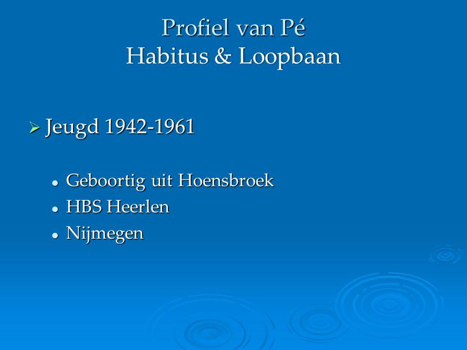 Profiel van Pé Habitus & Loopbaan  Jeugd 1942-1961 Geboortig uit Hoensbroek Geboortig uit Hoensbroek HBS Heerlen HBS Heerlen Nijmegen Nijmegen