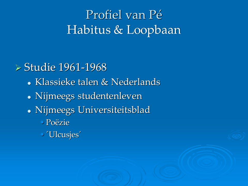 Profiel van Pé Habitus & Loopbaan  Studie 1961-1968 Klassieke talen & Nederlands Klassieke talen & Nederlands Nijmeegs studentenleven Nijmeegs studentenleven Nijmeegs Universiteitsblad Nijmeegs Universiteitsblad PoëziePoëzie ´Ulcusjes´´Ulcusjes´