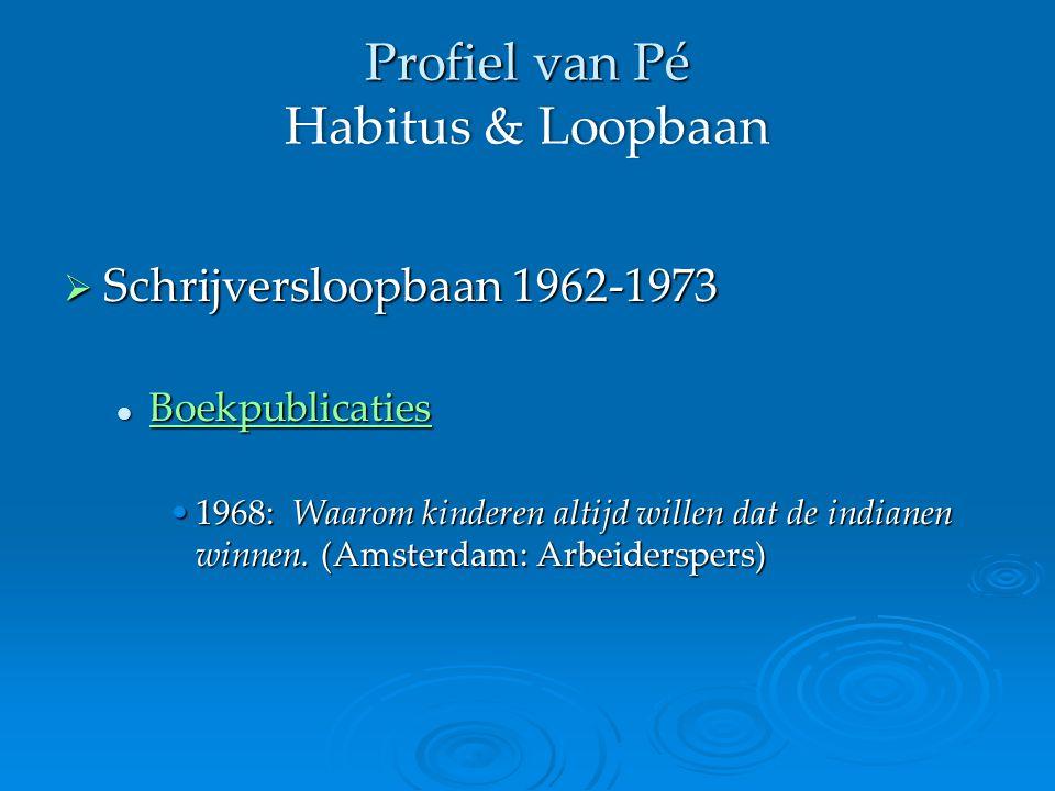 Profiel van Pé Habitus & Loopbaan  Schrijversloopbaan 1962-1973 Boekpublicaties Boekpublicaties Boekpublicaties 1968: Waarom kinderen altijd willen dat de indianen winnen.