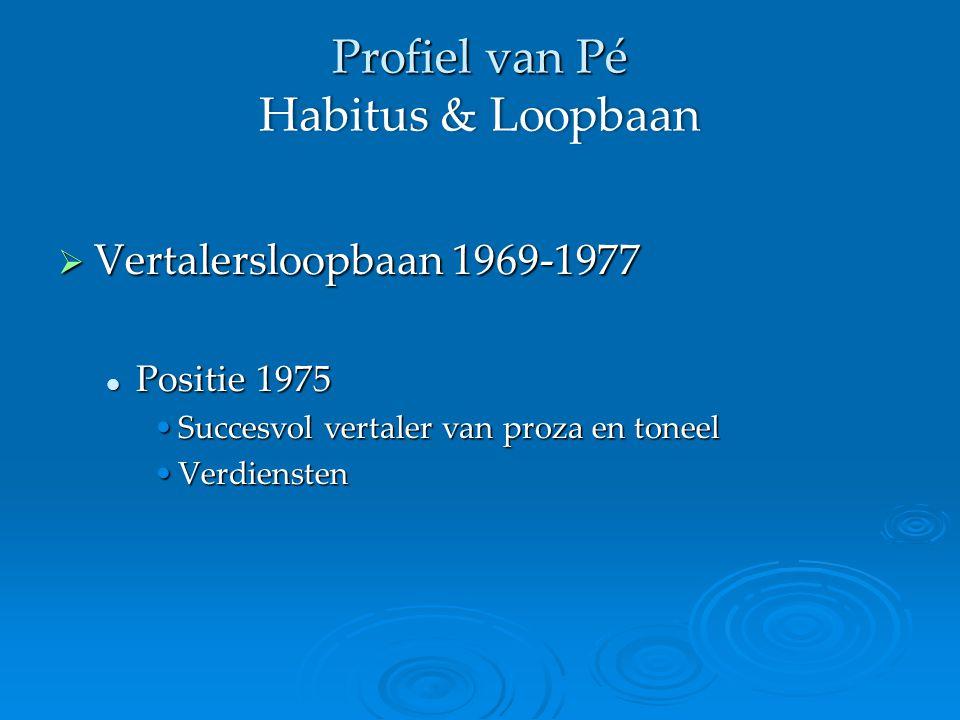 Profiel van Pé Habitus & Loopbaan  Vertalersloopbaan 1969-1977 Positie 1975 Positie 1975 Succesvol vertaler van proza en toneelSuccesvol vertaler van proza en toneel VerdienstenVerdiensten