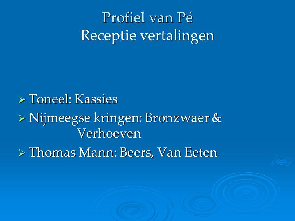 Profiel van Pé Receptie vertalingen  Toneel: Kassies  Nijmeegse kringen: Bronzwaer & Verhoeven  Thomas Mann: Beers, Van Eeten