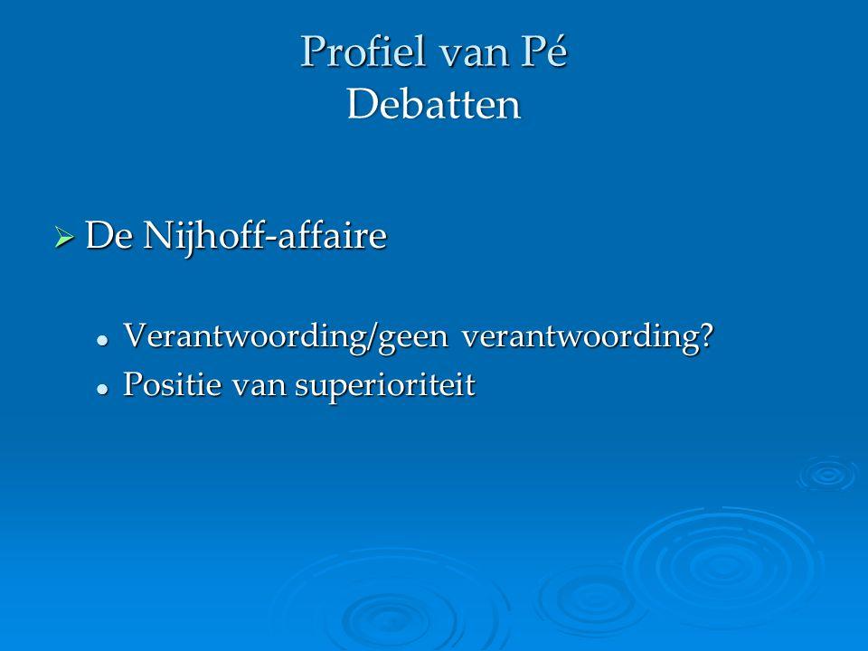 Profiel van Pé Debatten  De Nijhoff-affaire Verantwoording/geen verantwoording.