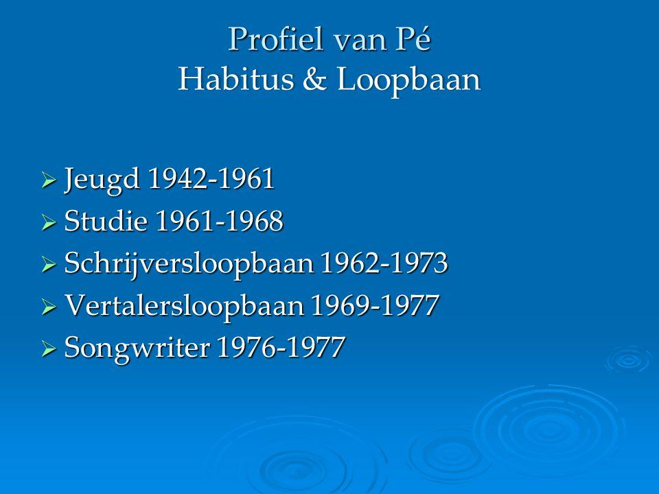 Profiel van Pé Habitus & Loopbaan  Jeugd 1942-1961  Studie 1961-1968  Schrijversloopbaan 1962-1973  Vertalersloopbaan 1969-1977  Songwriter 1976-1977