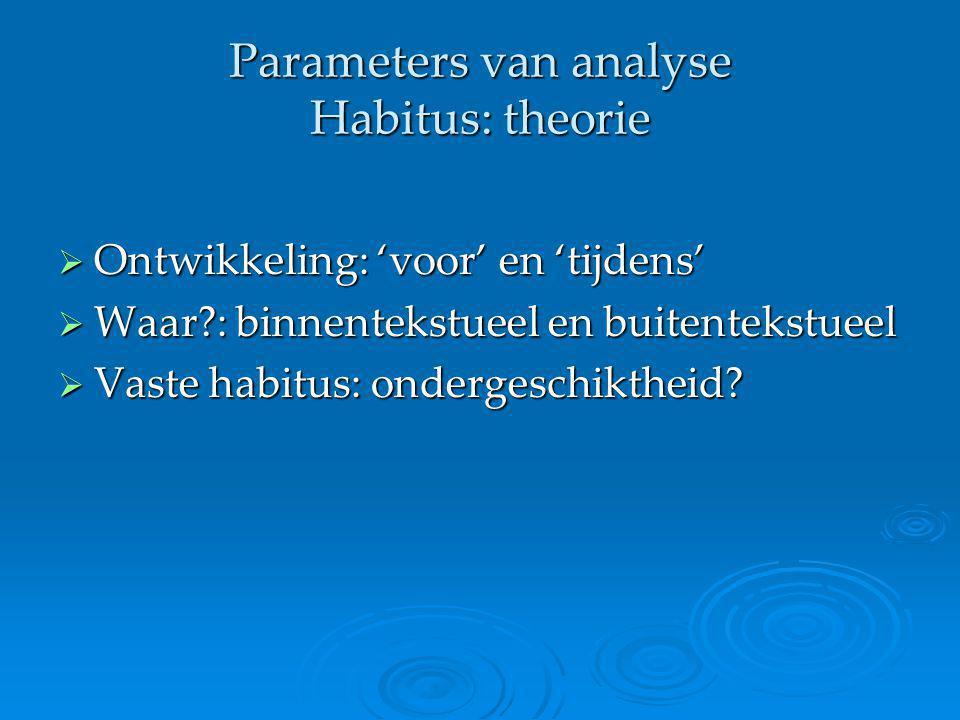 Parameters van analyse Habitus: theorie  Ontwikkeling: 'voor' en 'tijdens'  Waar?: binnentekstueel en buitentekstueel  Vaste habitus: ondergeschikt