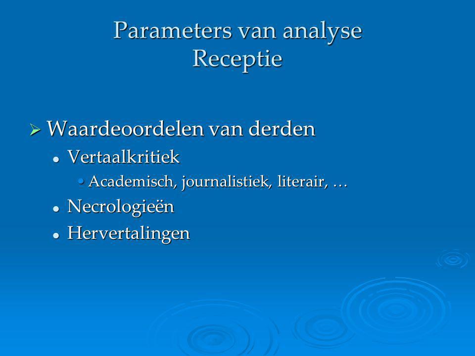 Parameters van analyse Receptie  Waardeoordelen van derden Vertaalkritiek Vertaalkritiek Academisch, journalistiek, literair, …Academisch, journalist