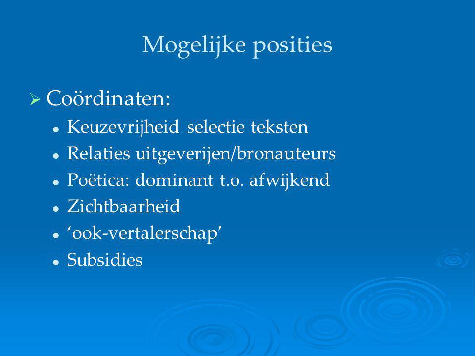 Mogelijke posities   Coördinaten: Keuzevrijheid selectie teksten Relaties uitgeverijen/bronauteurs Poëtica: dominant t.o. afwijkend Zichtbaarheid 'o
