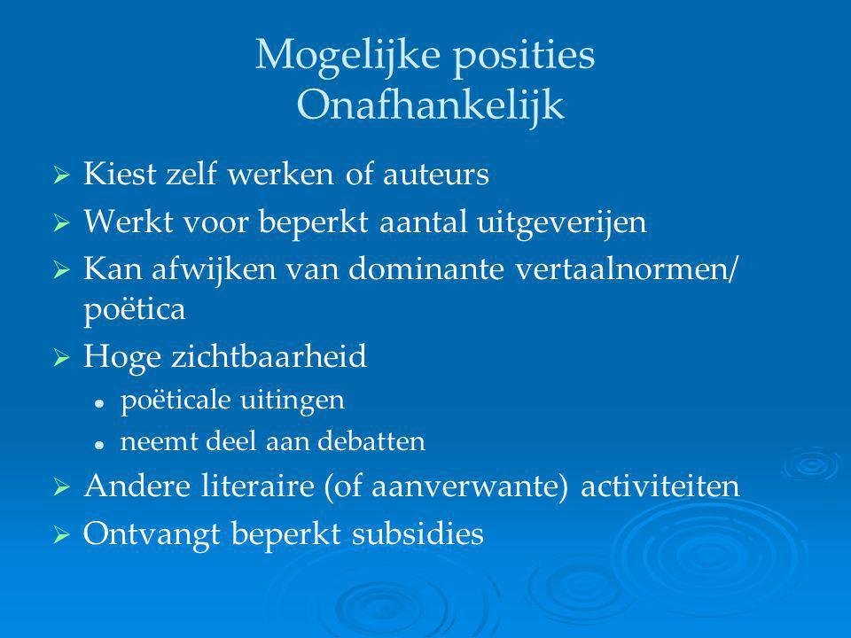 Mogelijke posities Onafhankelijk   Kiest zelf werken of auteurs   Werkt voor beperkt aantal uitgeverijen   Kan afwijken van dominante vertaalnor