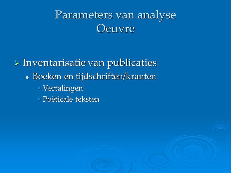 Parameters van analyse Oeuvre  Inventarisatie van publicaties Boeken en tijdschriften/kranten Boeken en tijdschriften/kranten VertalingenVertalingen