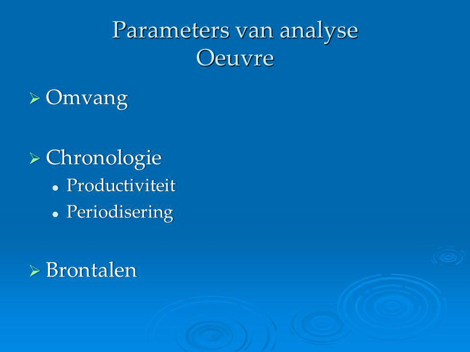 Parameters van analyse Oeuvre  Omvang  Chronologie Productiviteit Productiviteit Periodisering Periodisering  Brontalen