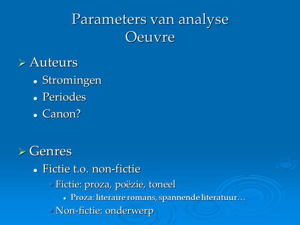 Parameters van analyse Oeuvre  Auteurs Stromingen Stromingen Periodes Periodes Canon? Canon?  Genres Fictie t.o. non-fictie Fictie t.o. non-fictie F