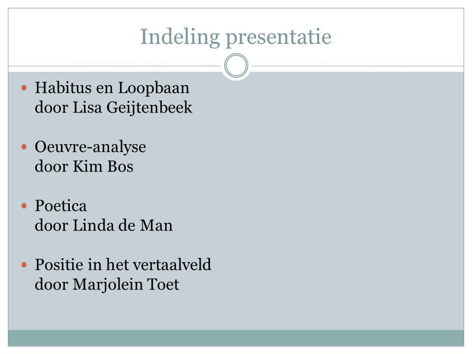 Indeling presentatie Habitus en Loopbaan door Lisa Geijtenbeek Oeuvre-analyse door Kim Bos Poetica door Linda de Man Positie in het vertaalveld door Marjolein Toet