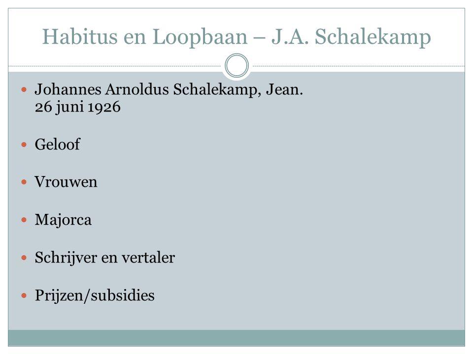 Habitus en Loopbaan – J.A. Schalekamp Johannes Arnoldus Schalekamp, Jean. 26 juni 1926 Geloof Vrouwen Majorca Schrijver en vertaler Prijzen/subsidies