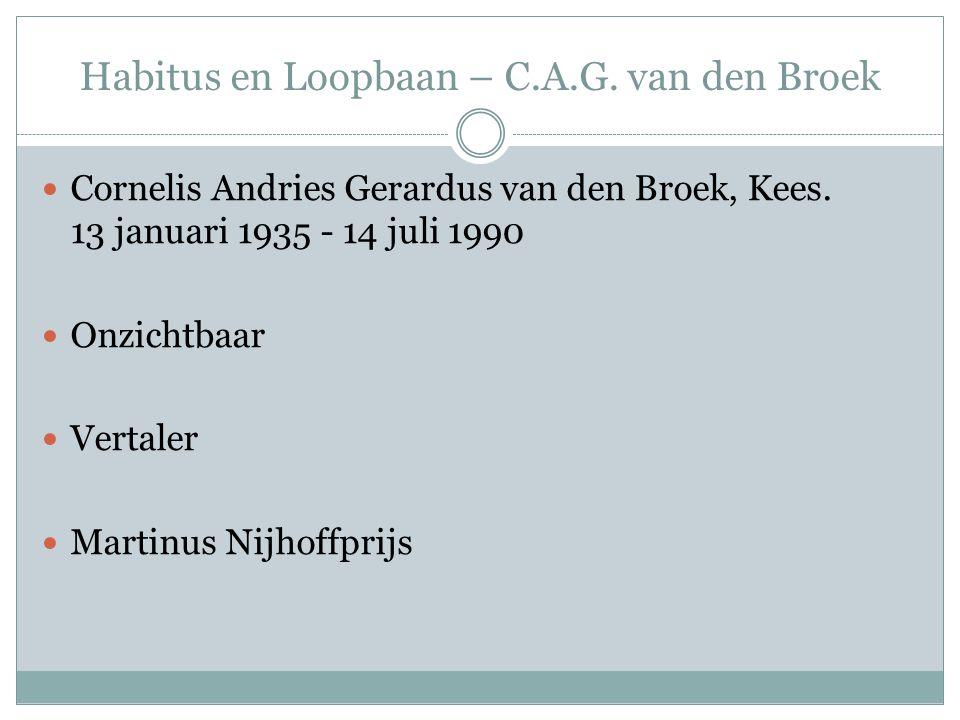 Habitus en Loopbaan – C.A.G. van den Broek Cornelis Andries Gerardus van den Broek, Kees. 13 januari 1935 - 14 juli 1990 Onzichtbaar Vertaler Martinus