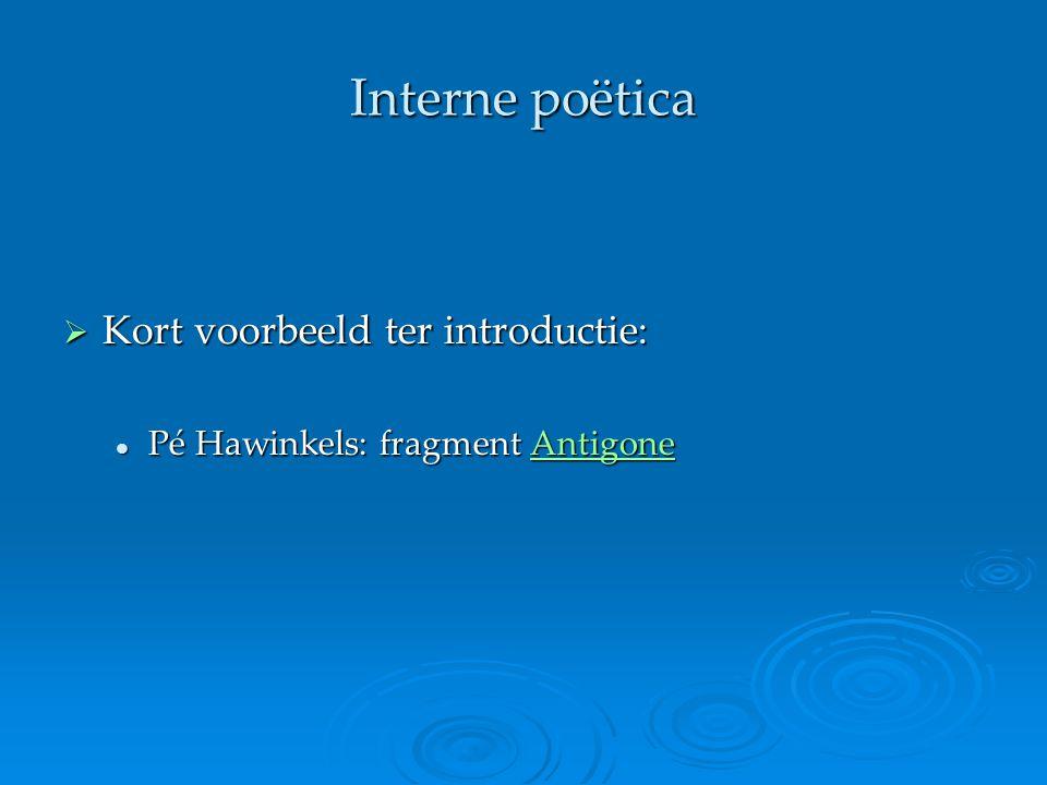 Interne poëtica  Kort voorbeeld ter introductie: Pé Hawinkels: fragment Antigone Pé Hawinkels: fragment AntigoneAntigone