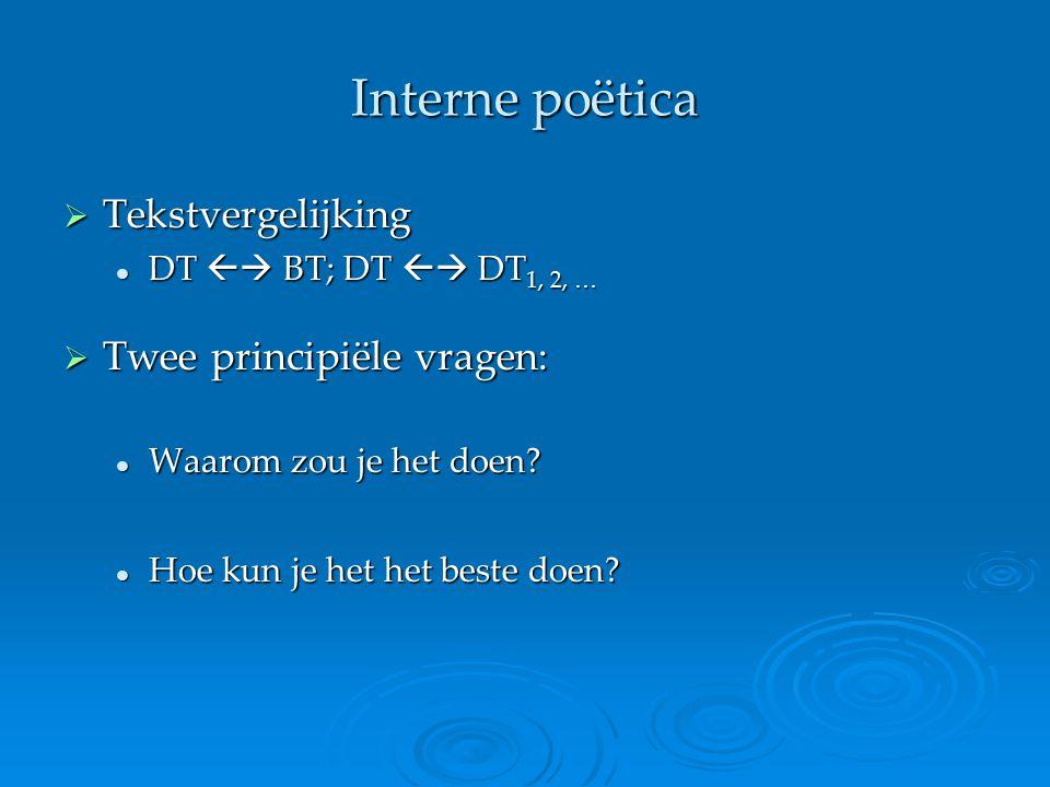 Interne poëtica  Tekstvergelijking DT  BT; DT  DT 1, 2, … DT  BT; DT  DT 1, 2, …  Twee principiële vragen: Waarom zou je het doen? Waarom zo