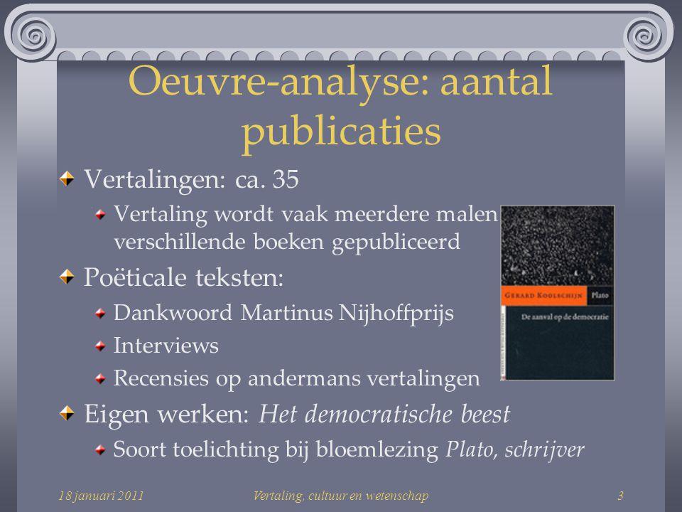 18 januari 2011Vertaling, cultuur en wetenschap24 Habitus & Loopbaan: netwerk Sorghvliet Gymnasium in Den Haag