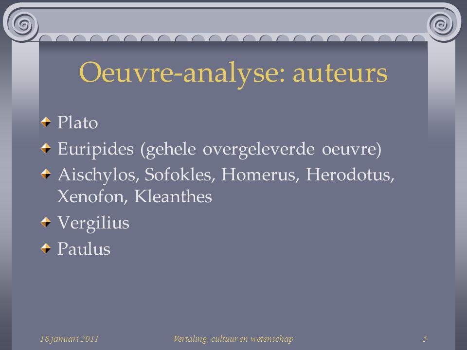 18 januari 2011Vertaling, cultuur en wetenschap6 Oeuvre-analyse: domeinen Proza Toneel Tragedies Filosofie Plato Bijbel Paulus