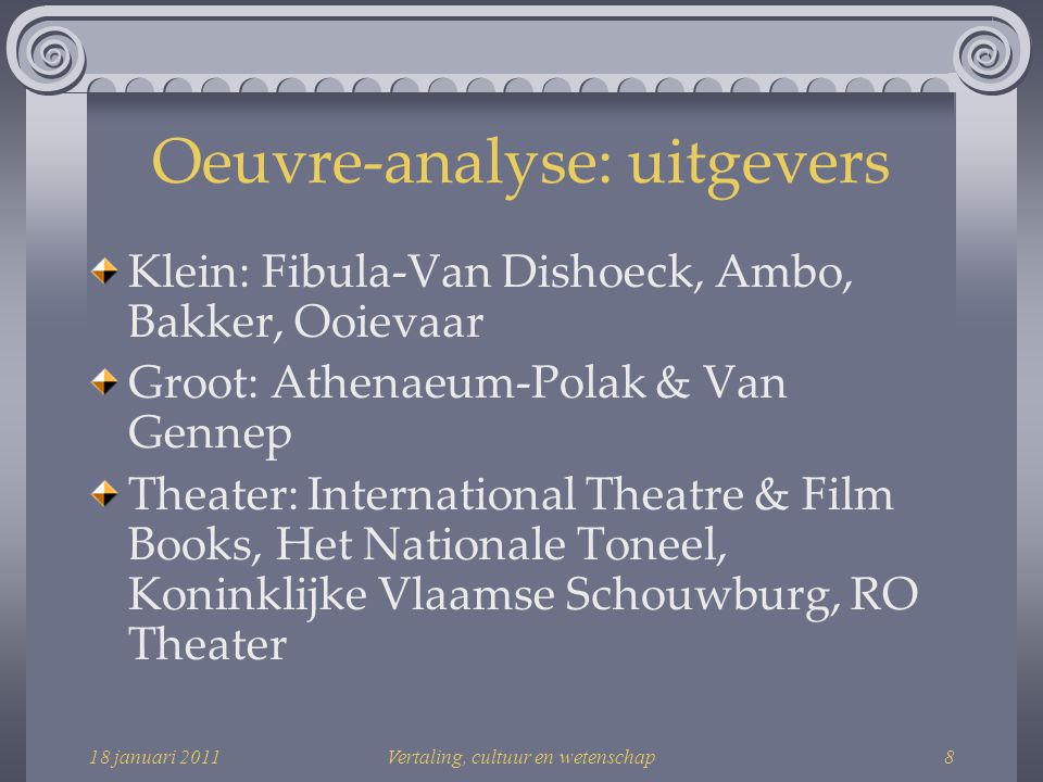 18 januari 2011Vertaling, cultuur en wetenschap39 Positie in het veld: conclusie Gerard Koolschijn heeft een ONAFHANKELIJKE positie in het veld