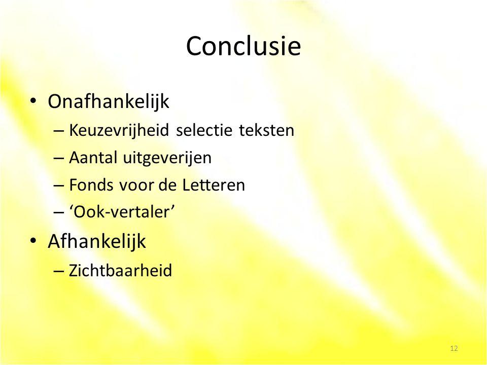 Conclusie Onafhankelijk – Keuzevrijheid selectie teksten – Aantal uitgeverijen – Fonds voor de Letteren – 'Ook-vertaler' Afhankelijk – Zichtbaarheid 12