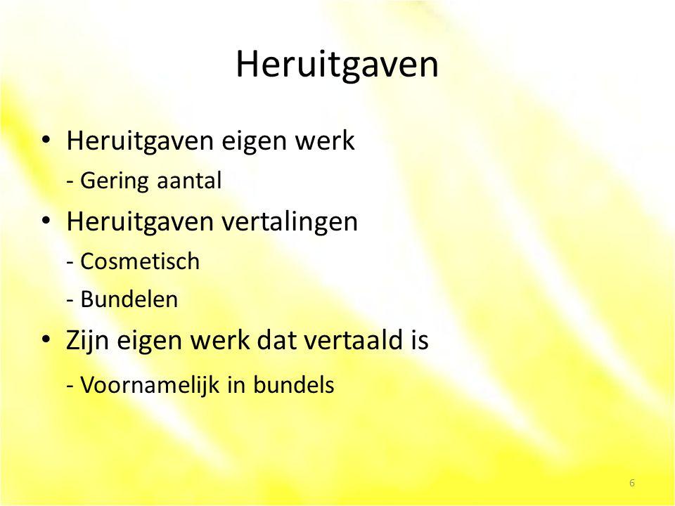 Heruitgaven Heruitgaven eigen werk - Gering aantal Heruitgaven vertalingen - Cosmetisch - Bundelen Zijn eigen werk dat vertaald is - Voornamelijk in bundels 6