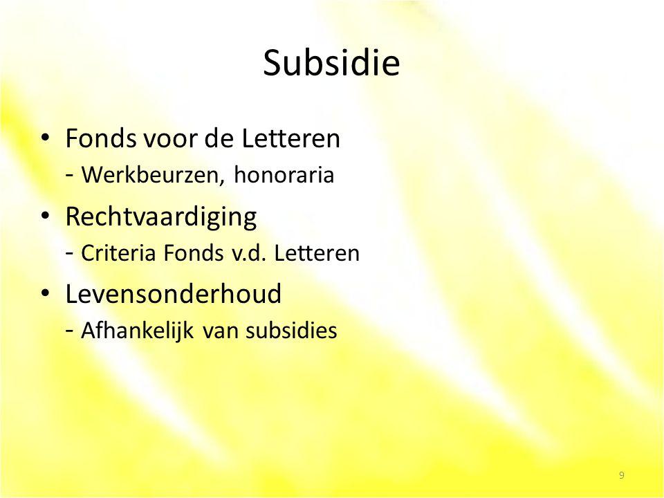 Subsidie Fonds voor de Letteren - Werkbeurzen, honoraria Rechtvaardiging - Criteria Fonds v.d.