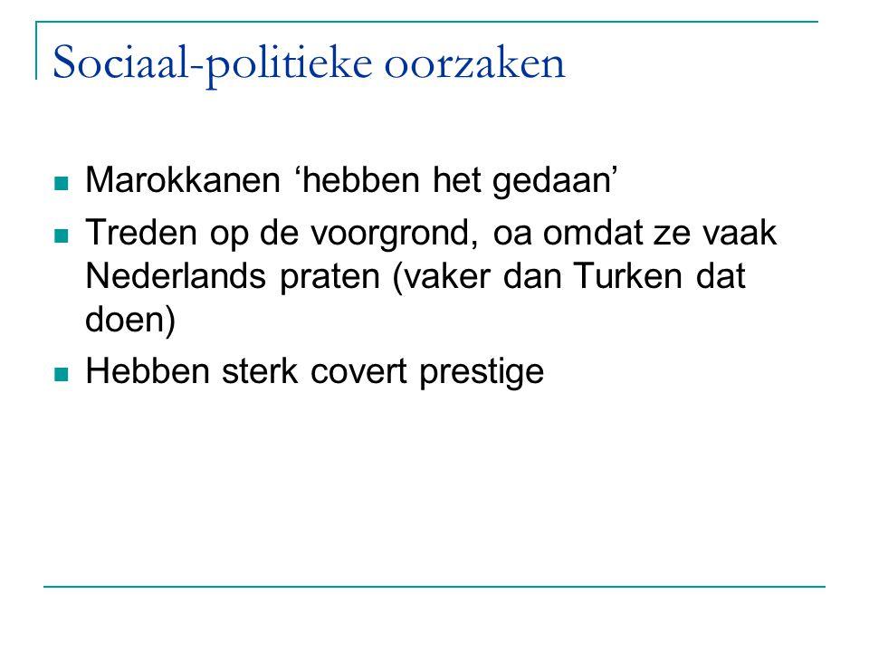 Sociaal-politieke oorzaken Marokkanen 'hebben het gedaan' Treden op de voorgrond, oa omdat ze vaak Nederlands praten (vaker dan Turken dat doen) Hebbe