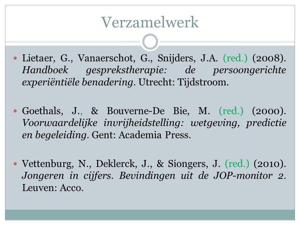 Verzamelwerk Lietaer, G., Vanaerschot, G., Snijders, J.A. (red.) (2008). Handboek gesprekstherapie: de persoongerichte experiëntiële benadering. Utrec