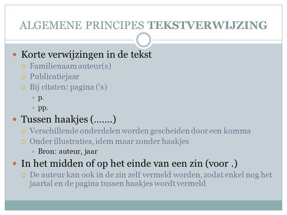 ALGEMENE PRINCIPES TEKSTVERWIJZING Korte verwijzingen in de tekst  Familienaam auteur(s)  Publicatiejaar  Bij citaten: pagina ('s)  p.  pp. Tusse