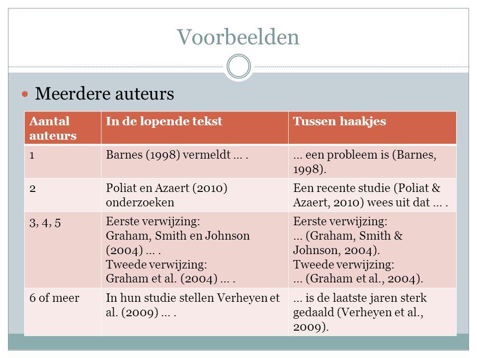 Voorbeelden Meerdere auteurs Aantal auteurs In de lopende tekstTussen haakjes 1Barnes (1998) vermeldt ….… een probleem is (Barnes, 1998). 2Poliat en A