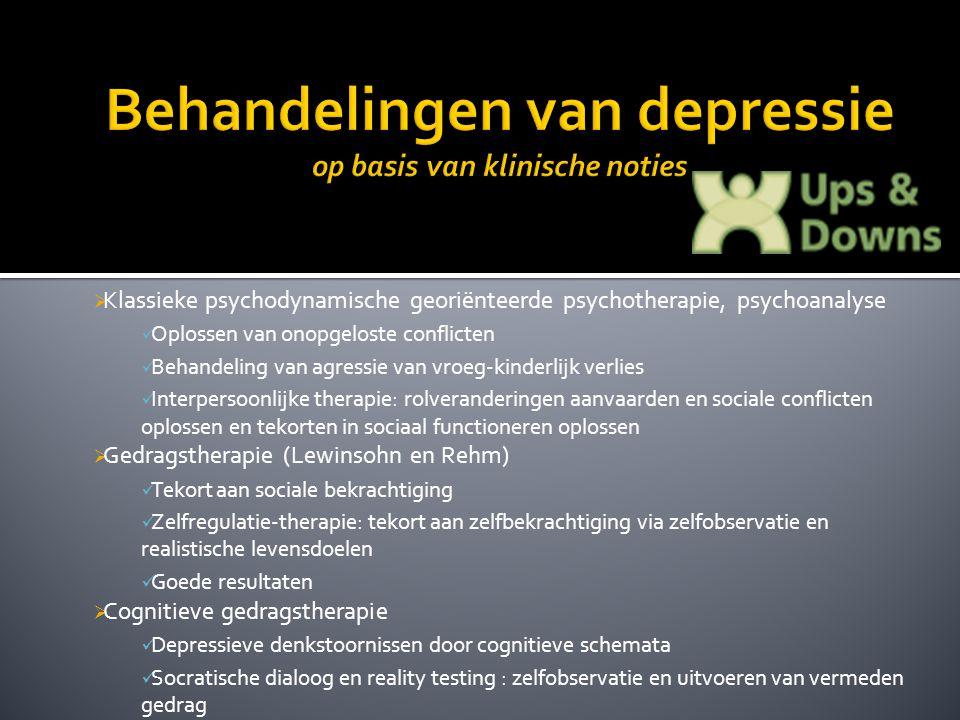  Klassieke psychodynamische georiënteerde psychotherapie, psychoanalyse Oplossen van onopgeloste conflicten Behandeling van agressie van vroeg-kinder