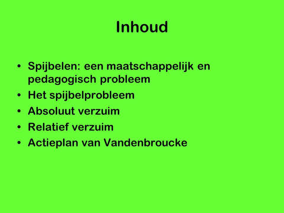 Inhoud Spijbelen: een maatschappelijk en pedagogisch probleem Het spijbelprobleem Absoluut verzuim Relatief verzuim Actieplan van Vandenbroucke