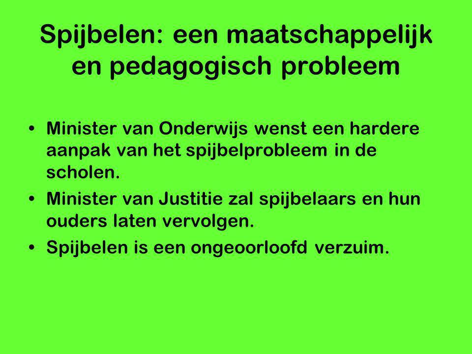 Spijbelen: een maatschappelijk en pedagogisch probleem Minister van Onderwijs wenst een hardere aanpak van het spijbelprobleem in de scholen. Minister