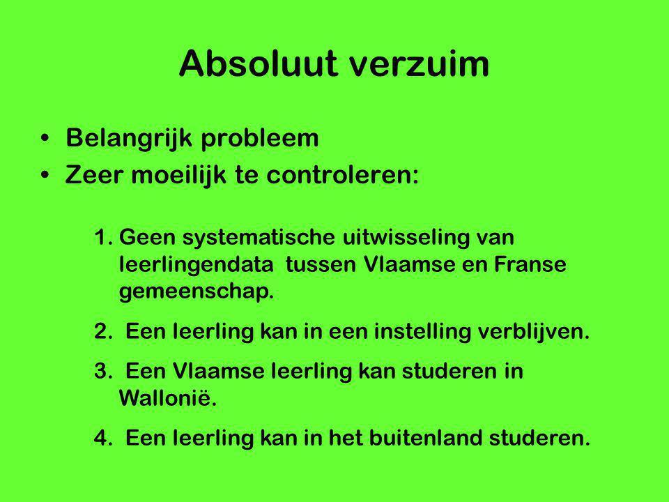Absoluut verzuim Belangrijk probleem Zeer moeilijk te controleren: 1.Geen systematische uitwisseling van leerlingendata tussen Vlaamse en Franse gemee