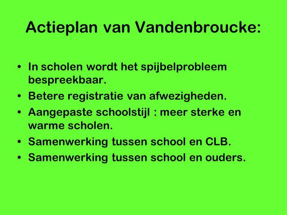 Actieplan van Vandenbroucke: In scholen wordt het spijbelprobleem bespreekbaar. Betere registratie van afwezigheden. Aangepaste schoolstijl : meer ste