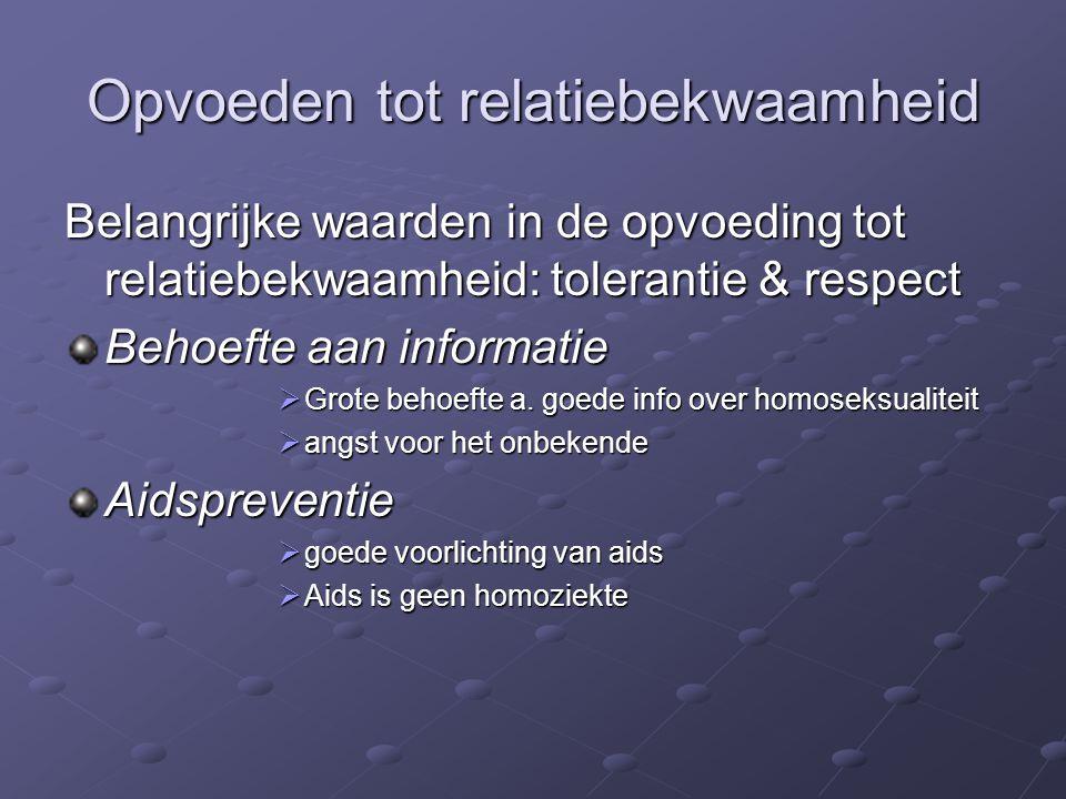 Opvoeden tot relatiebekwaamheid Belangrijke waarden in de opvoeding tot relatiebekwaamheid: tolerantie & respect Behoefte aan informatie  Grote behoe