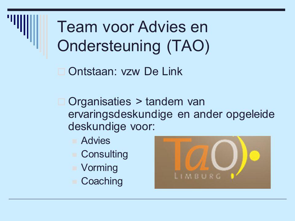 Team voor Advies en Ondersteuning (TAO)  Ontstaan: vzw De Link  Organisaties > tandem van ervaringsdeskundige en ander opgeleide deskundige voor: Advies Consulting Vorming Coaching