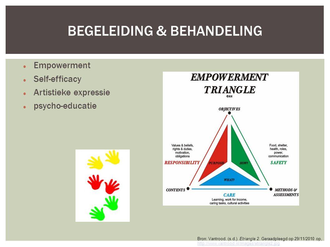 BEGELEIDING & BEHANDELING Empowerment Self-efficacy Artistieke expressie psycho-educatie Bron: Vantrood.