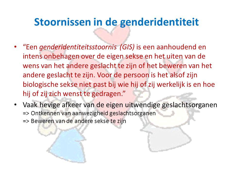 Stoornissen in de genderidentiteit Een genderidentiteitsstoornis (GIS) is een aanhoudend en intens onbehagen over de eigen sekse en het uiten van de wens van het andere geslacht te zijn of het beweren van het andere geslacht te zijn.
