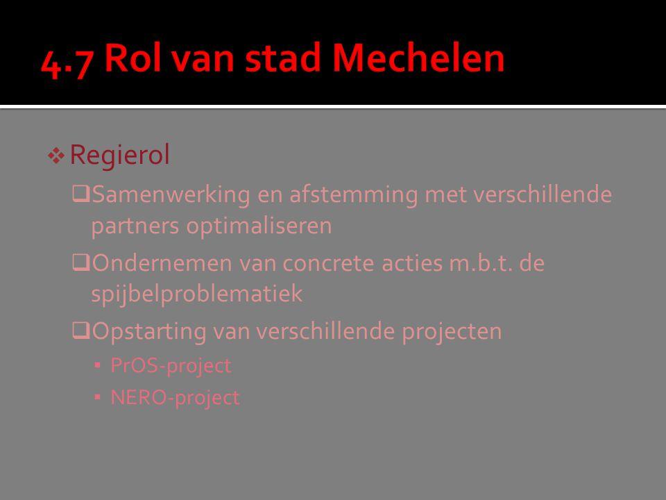  Regierol  Samenwerking en afstemming met verschillende partners optimaliseren  Ondernemen van concrete acties m.b.t.