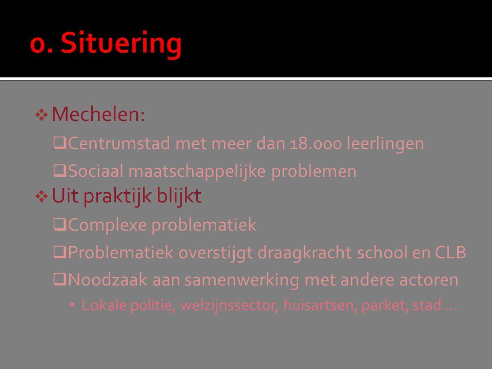  Mechelen:  Centrumstad met meer dan 18.000 leerlingen  Sociaal maatschappelijke problemen  Uit praktijk blijkt  Complexe problematiek  Problema