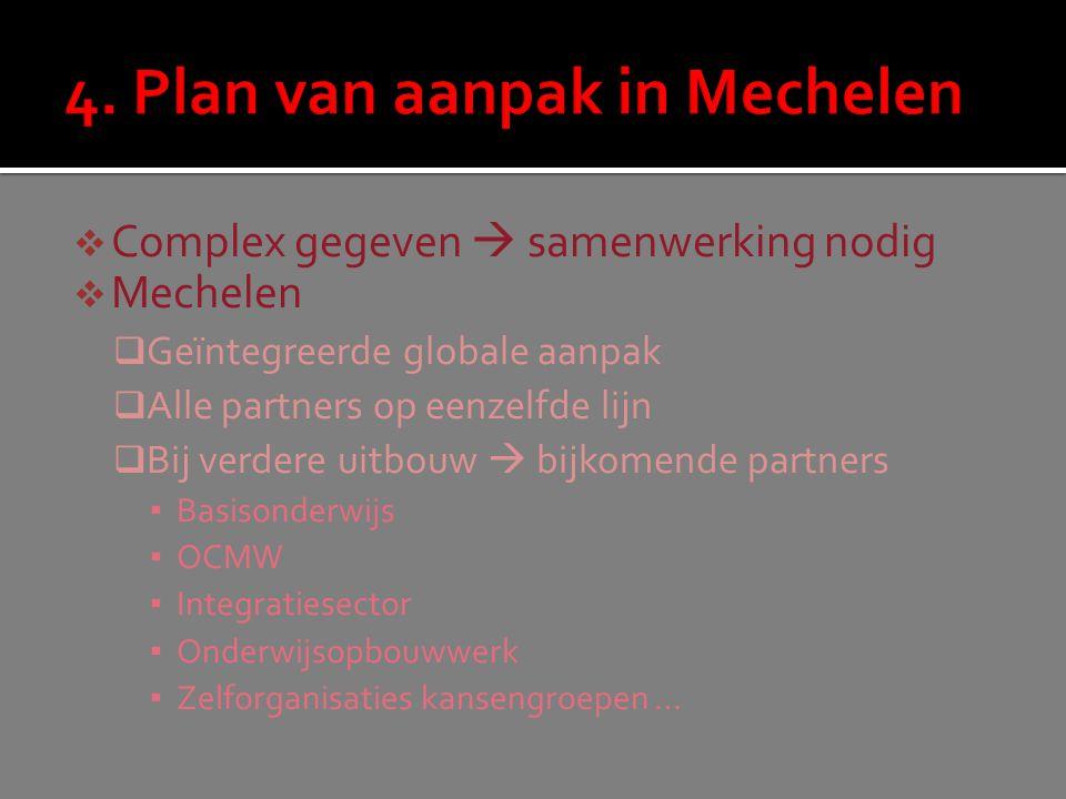  Complex gegeven  samenwerking nodig  Mechelen  Geïntegreerde globale aanpak  Alle partners op eenzelfde lijn  Bij verdere uitbouw  bijkomende partners ▪ Basisonderwijs ▪ OCMW ▪ Integratiesector ▪ Onderwijsopbouwwerk ▪ Zelforganisaties kansengroepen …