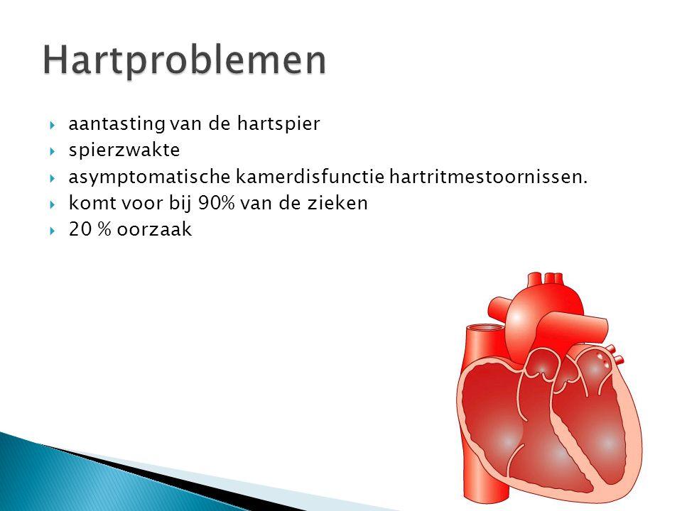  aantasting van de hartspier  spierzwakte  asymptomatische kamerdisfunctie hartritmestoornissen.  komt voor bij 90% van de zieken  20 % oorzaak