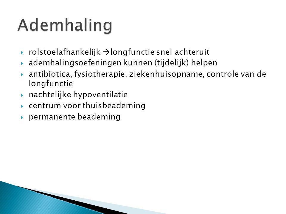  rolstoelafhankelijk  longfunctie snel achteruit  ademhalingsoefeningen kunnen (tijdelijk) helpen  antibiotica, fysiotherapie, ziekenhuisopname, controle van de longfunctie  nachtelijke hypoventilatie  centrum voor thuisbeademing  permanente beademing