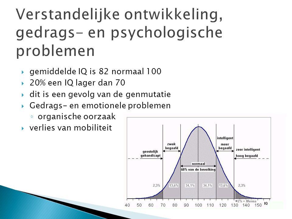  gemiddelde IQ is 82 normaal 100  20% een IQ lager dan 70  dit is een gevolg van de genmutatie  Gedrags- en emotionele problemen ◦ organische oorzaak  verlies van mobiliteit