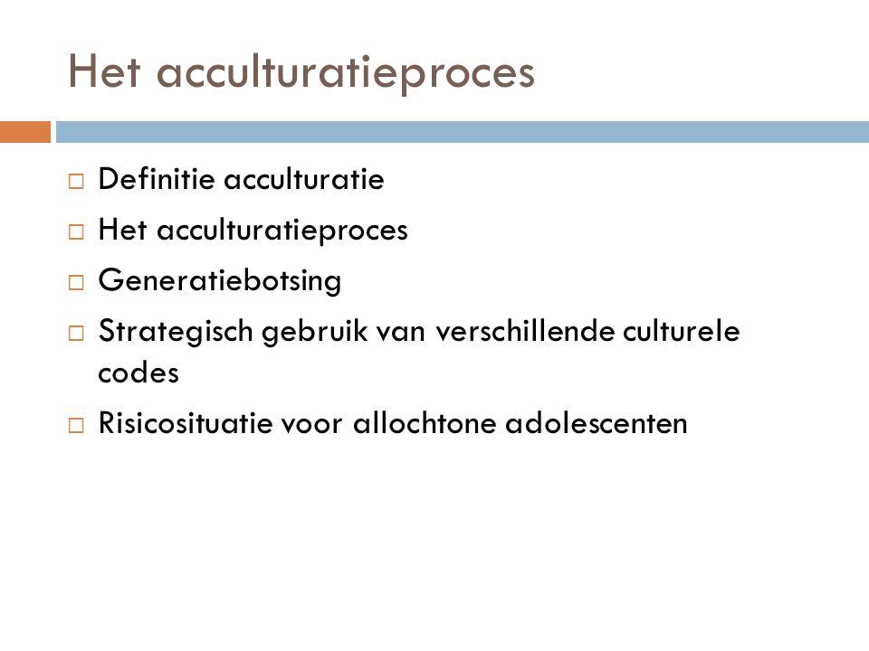 Het acculturatieproces  Definitie acculturatie  Het acculturatieproces  Generatiebotsing  Strategisch gebruik van verschillende culturele codes 