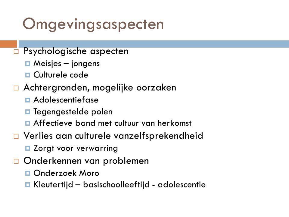 Omgevingsaspecten  Psychologische aspecten  Meisjes – jongens  Culturele code  Achtergronden, mogelijke oorzaken  Adolescentiefase  Tegengesteld