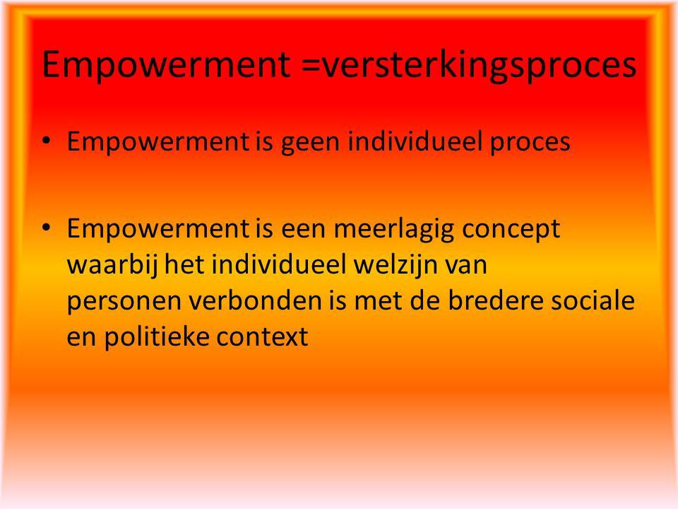 Empowerment =versterkingsproces Empowerment is geen individueel proces Empowerment is een meerlagig concept waarbij het individueel welzijn van person