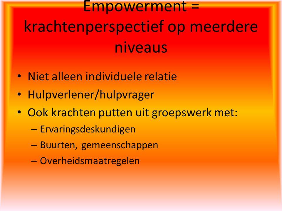 Empowerment = krachtenperspectief op meerdere niveaus Niet alleen individuele relatie Hulpverlener/hulpvrager Ook krachten putten uit groepswerk met: